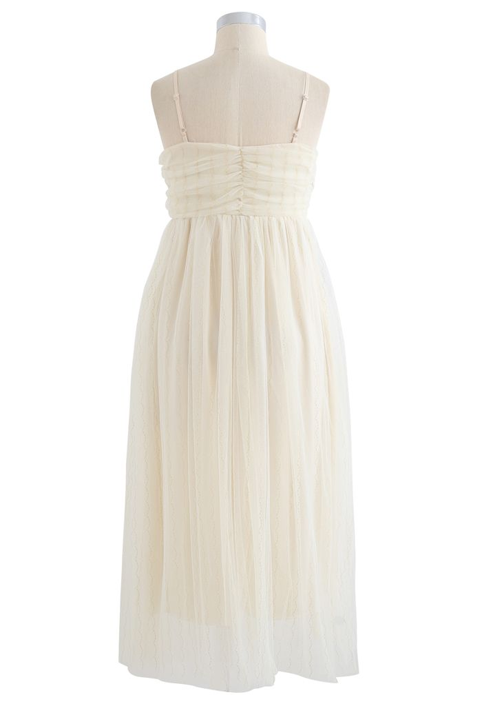 Golden Scallop Line Mesh Cami Dress in Cream