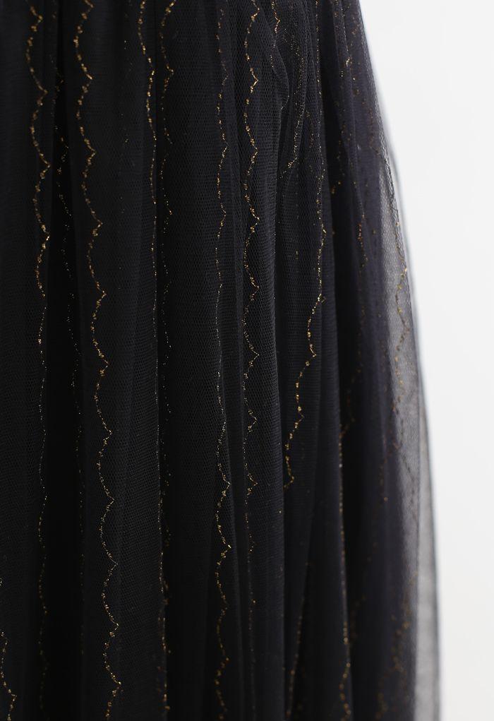 Golden Scallop Line Mesh Cami Dress in Black