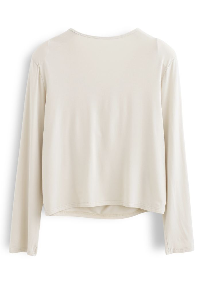Drape Neck Padded Shoulder Top in Cream