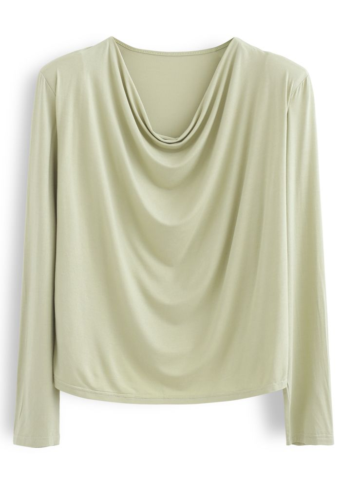 Drape Neck Padded Shoulder Top in Moss Green