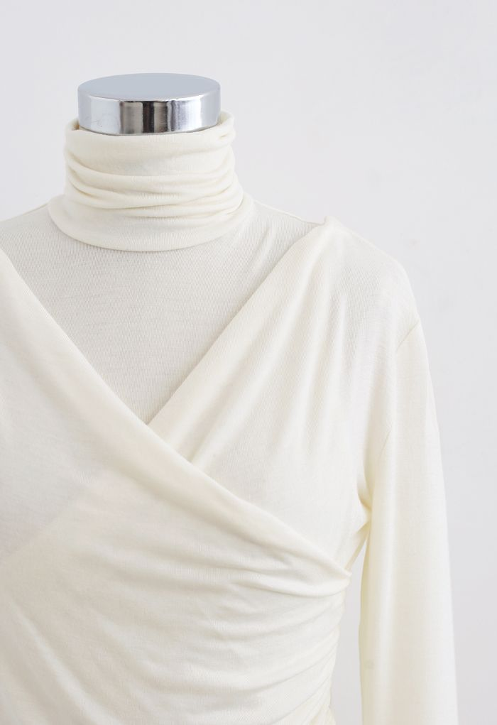 Fake Two-Piece Turtleneck Wrap Top in Cream