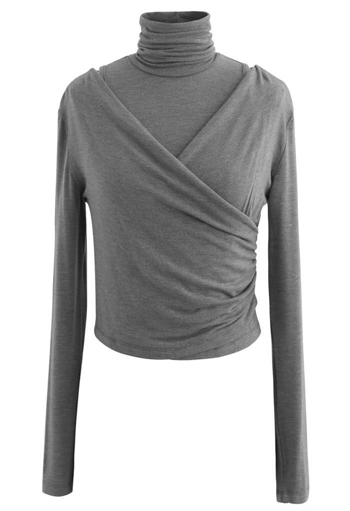 Fake Two-Piece Turtleneck Wrap Top in Grey