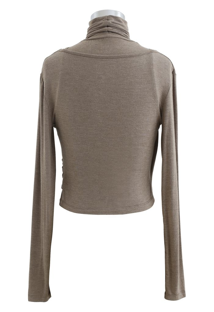 Fake Two-Piece Turtleneck Wrap Top in Taupe