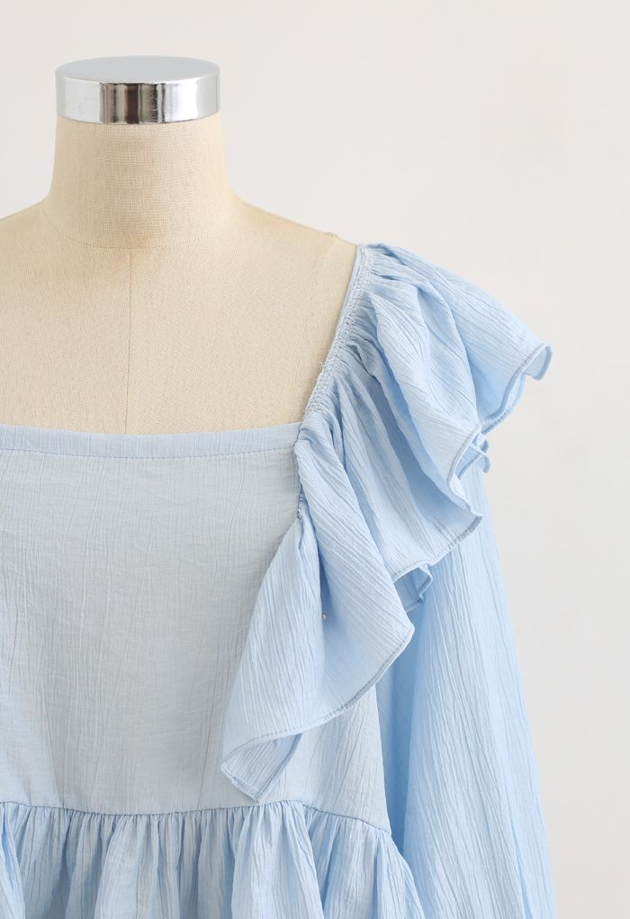 Square Neck Ruffle Crop Top in Blue