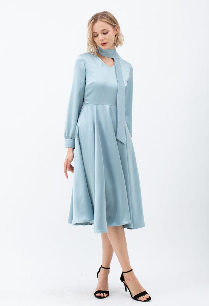 Scarf V-Neck Flare Midi Dress in Blue