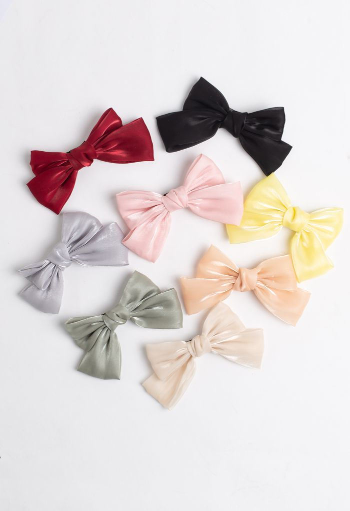 Satin Big Bow Barrette