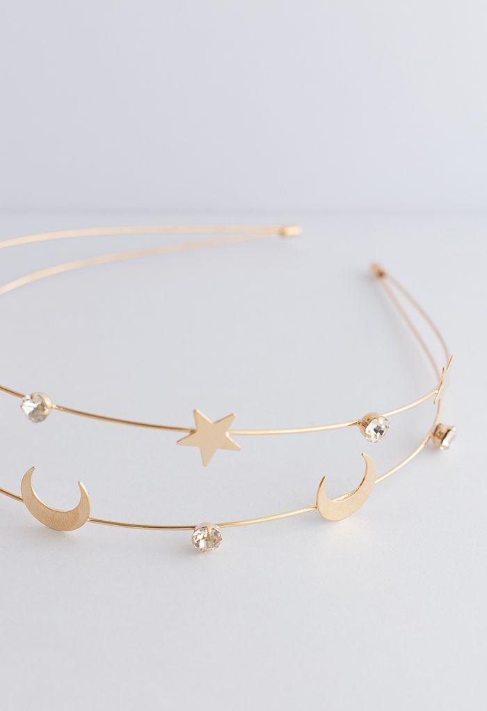 Moon and Star Golden Headband