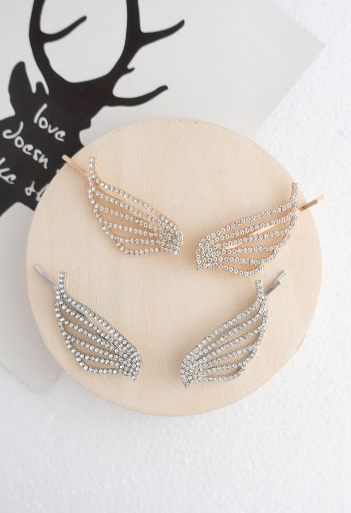 2-Pack Crystal Wing Bobby Pins