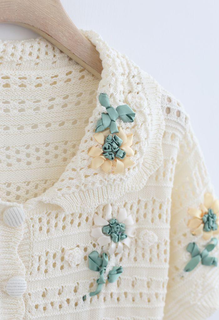 Hand-Knit Flower Eyelet Knit Cardigan in Cream
