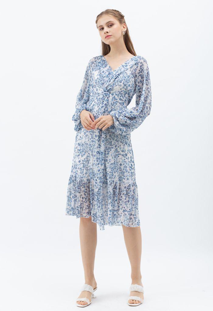Puff Sleeve Printed Twist Frilling Dress