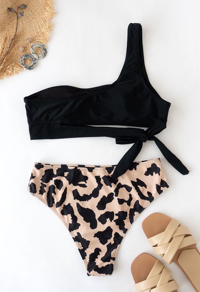 Leopard Print One-Shoulder Knotted Bikini Set