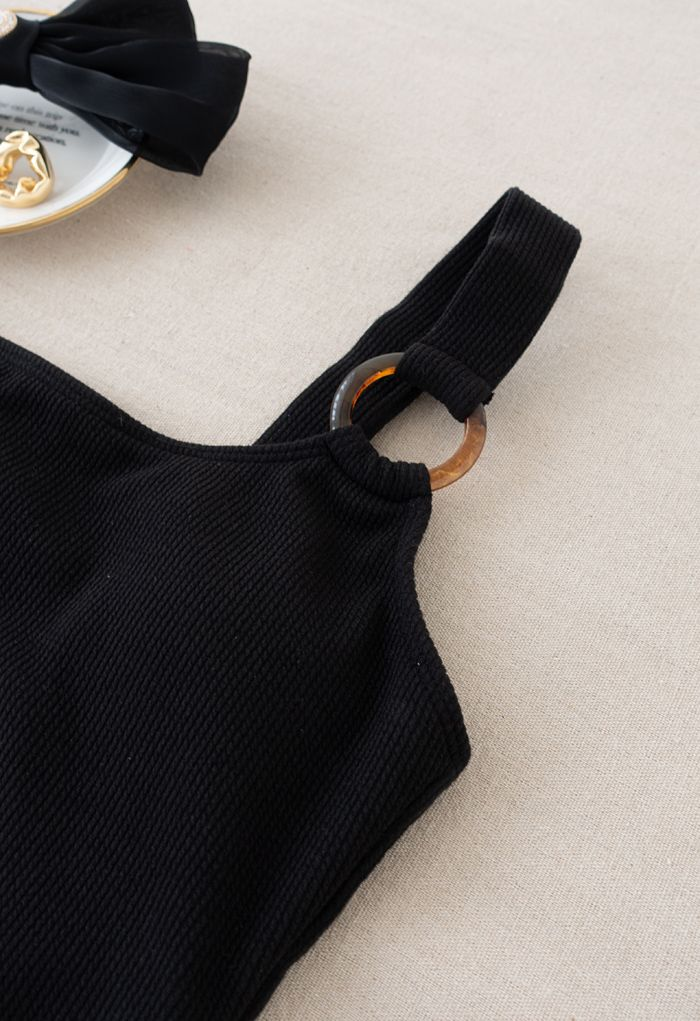 O-Ring One-Shoulder Swimsuit in Black