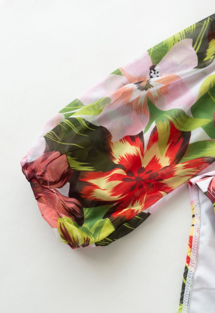 Mesh Sleeve Cut-Out Halter Swimsuit in Tropical Floral