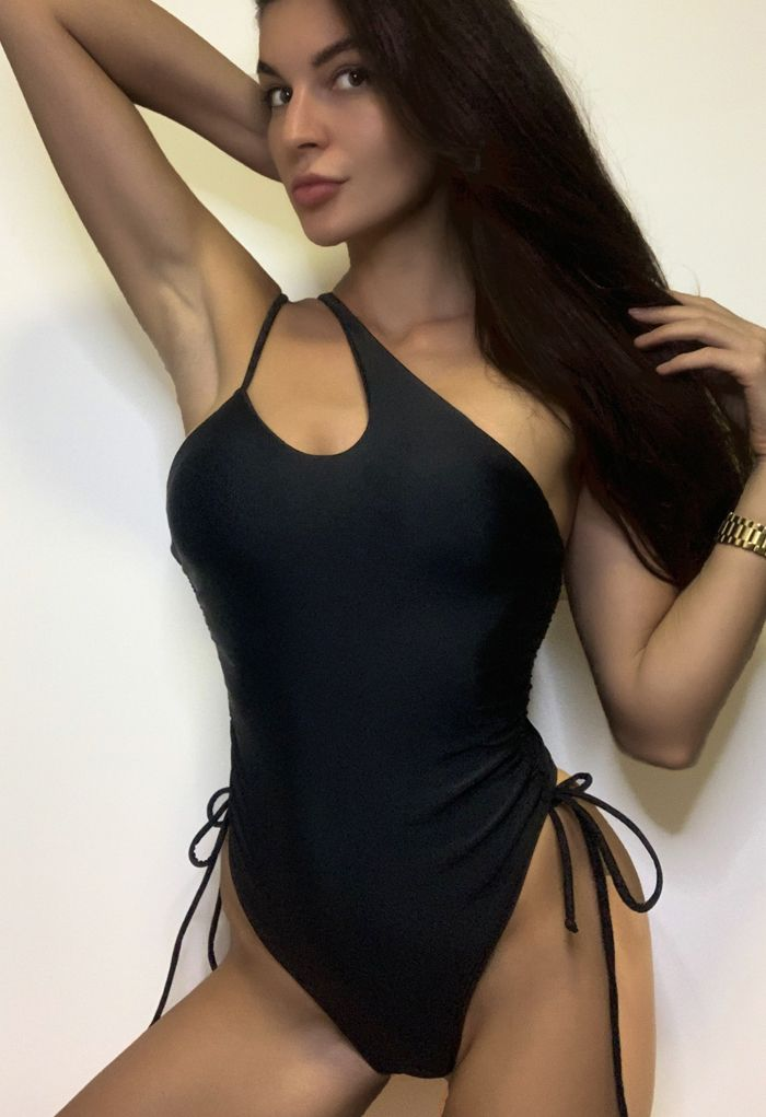 Drawstring Side One-Piece Swimsuit in Black
