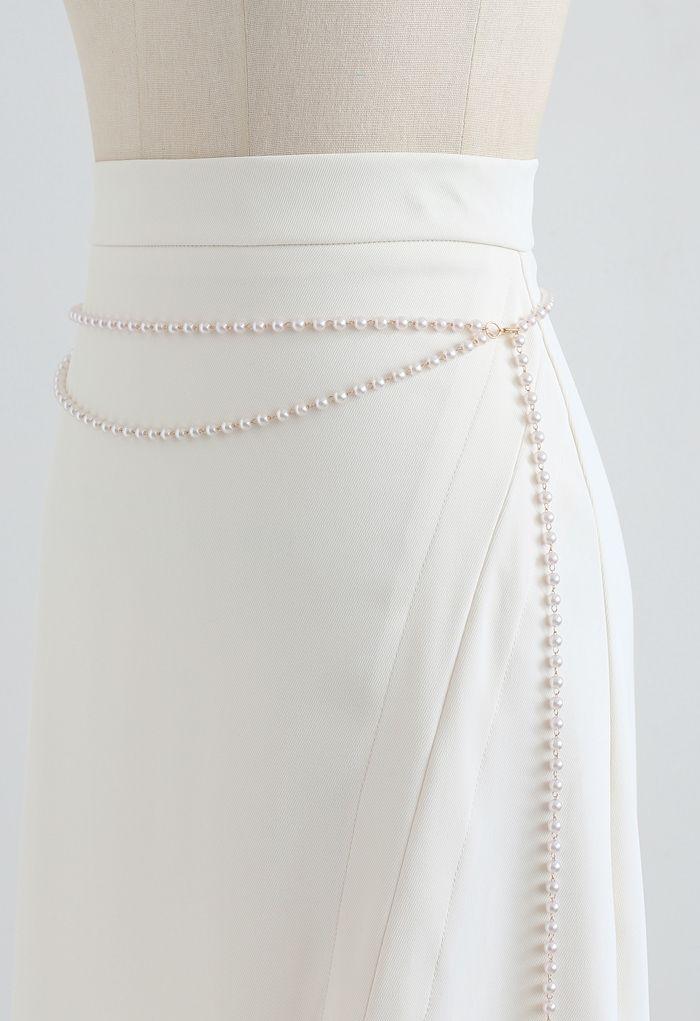 Pearls Chain Front Slit Midi Skirt in Cream