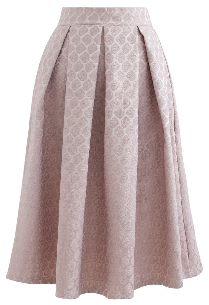 Embossed Rose Pleated Midi Skirt in Dusty Pink
