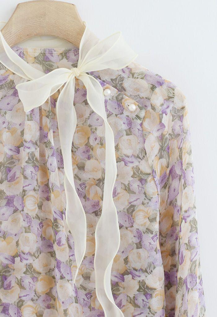 Rosebud Bowknot Glittery Semi-Sheer Top in Purple