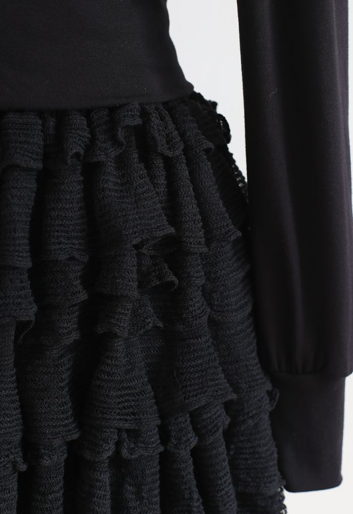 Tiered Ripple Padded Cardigan and Skirt Set in Black