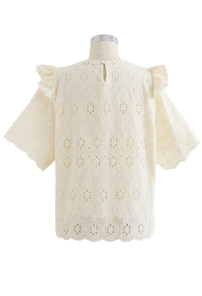 Zigzag Eyelet Floral Embroidered Short-Sleeve Top in Light Yellow