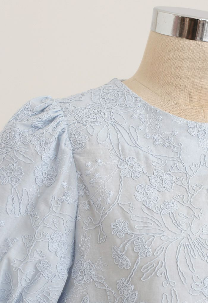 Delicate Floral Embroidered Short-Sleeve Top in Blue