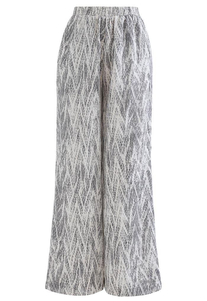 Zigzag Snake Print Wide-Leg Lounge Pants in Smoke
