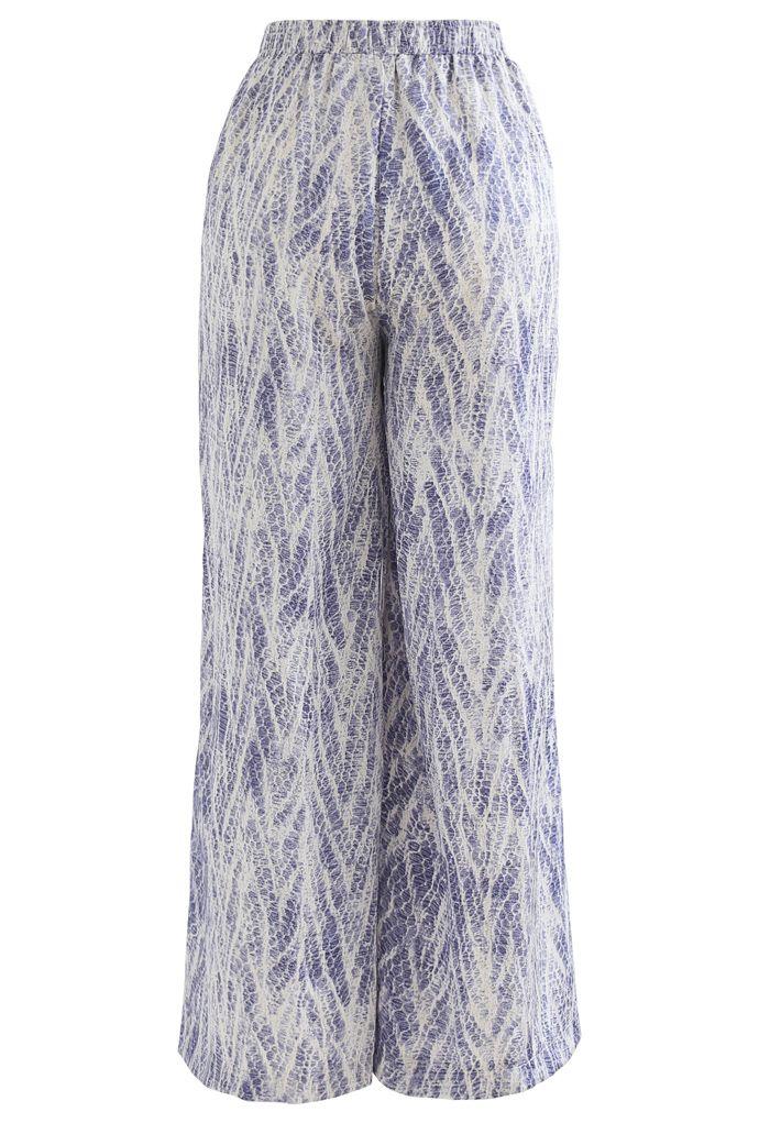 Zigzag Snake Print Wide-Leg Lounge Pants in Blue