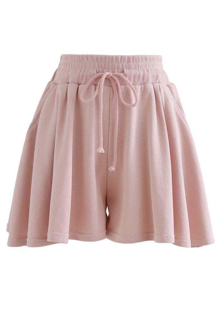 Zip Drawstring Crop Hoodie and Shorts Set in Peach