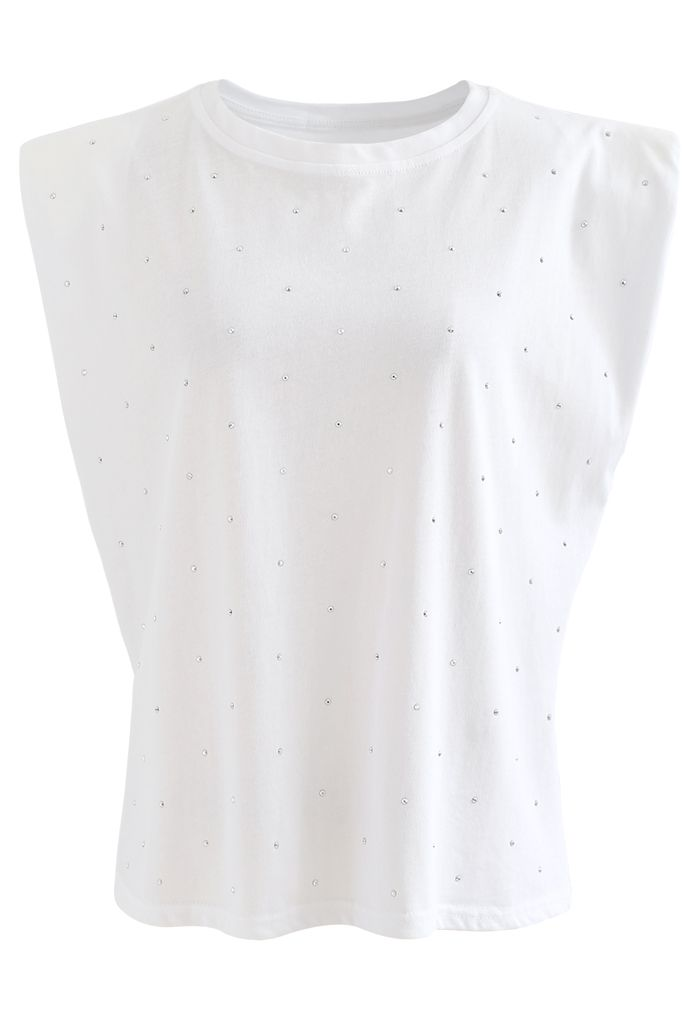 Flickering Padded Shoulder Sleeveless Top in White