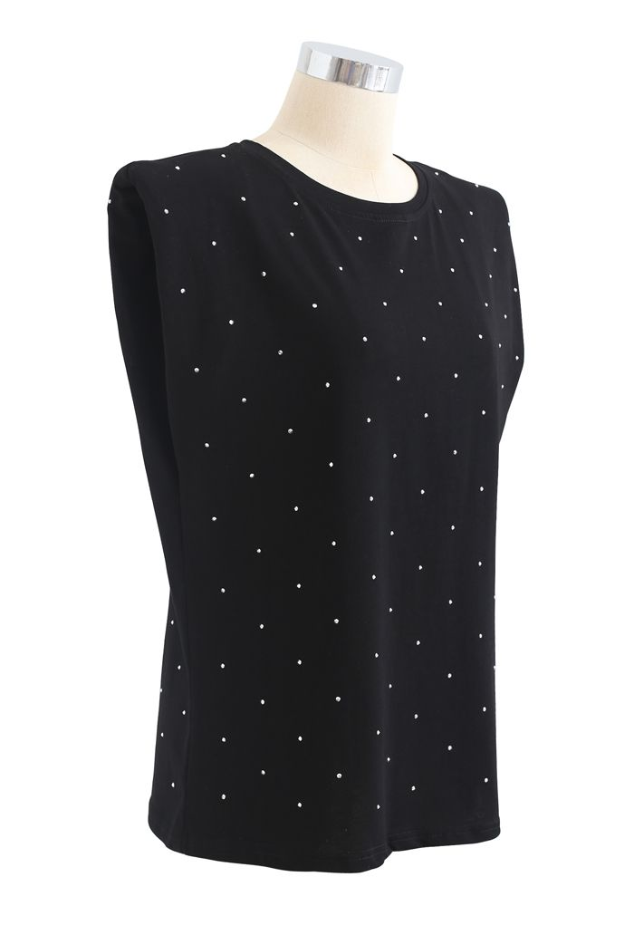 Flickering Padded Shoulder Sleeveless Top in Black