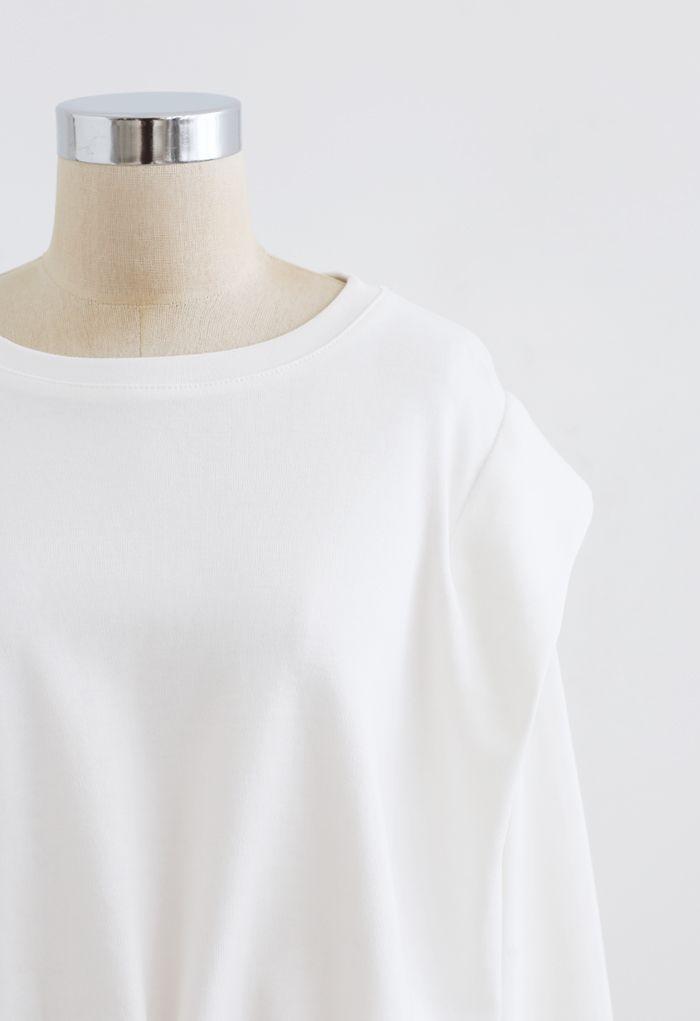 Adjustable Oversized Crop Sweatshirt in White
