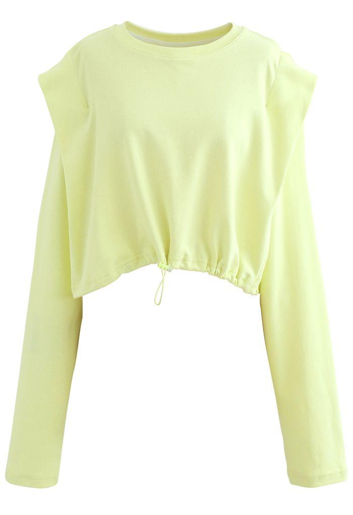 Adjustable Oversized Crop Sweatshirt in Lime