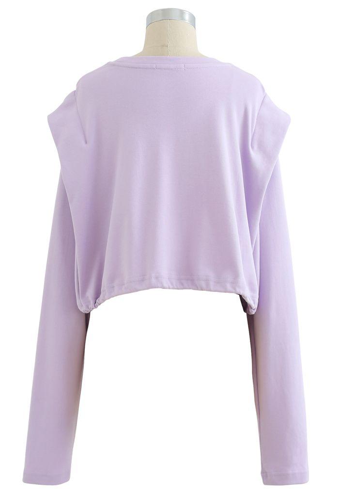 Adjustable Oversized Crop Sweatshirt in Lavender