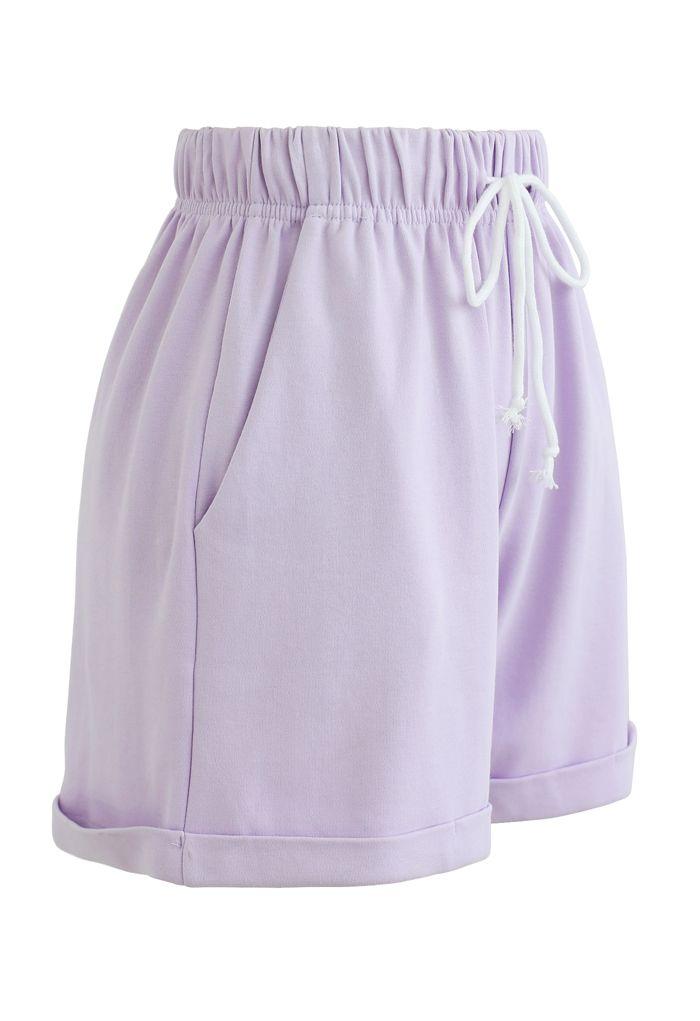Folded Hem Drawstring Pockets Shorts in Lavender