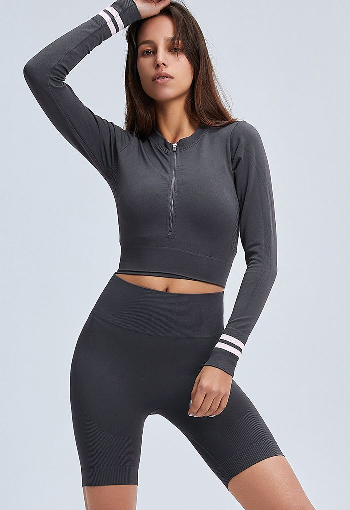 Zip Front Cropped Sports Top and Legging Shorts Set in Smoke