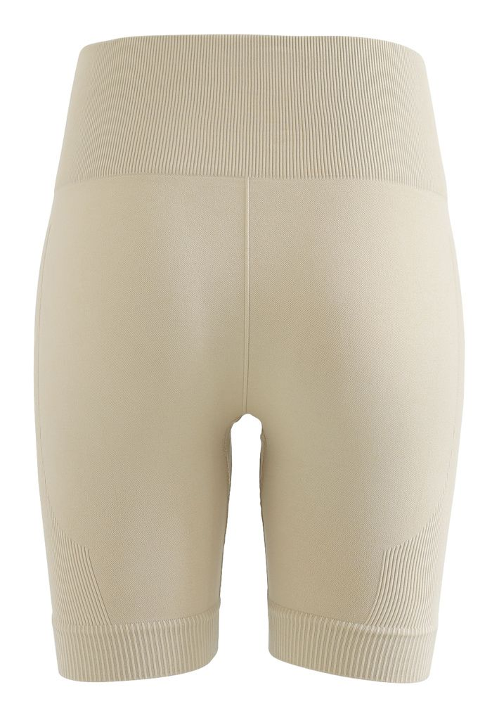 Zip Front Cropped Sports Top and Legging Shorts Set in Camel
