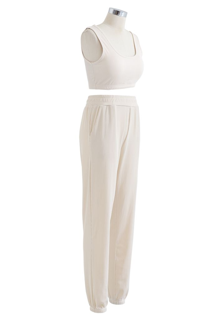 Soft Touch Cami Sports Bra and Joggers Set in Cream