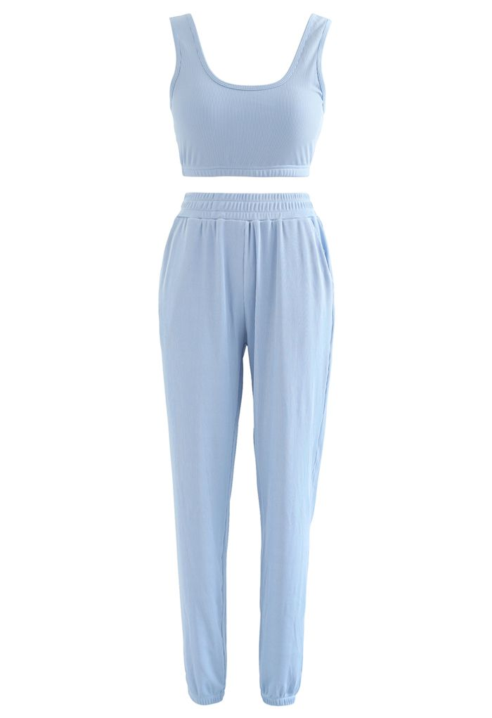 Soft Touch Cami Sports Bra and Joggers Set in Sky Blue