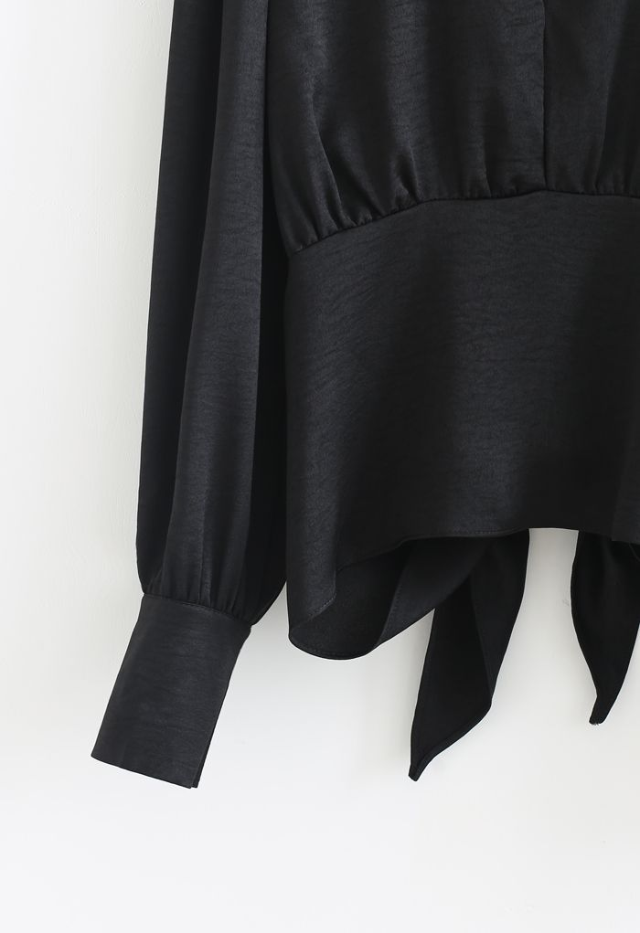 Knotted Waist Open Back Crop Top in Black