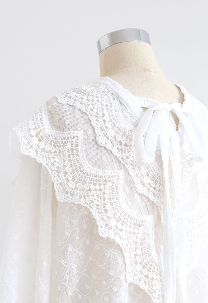 Tie Neck Flock Dots Buttoned Sheer Top in White