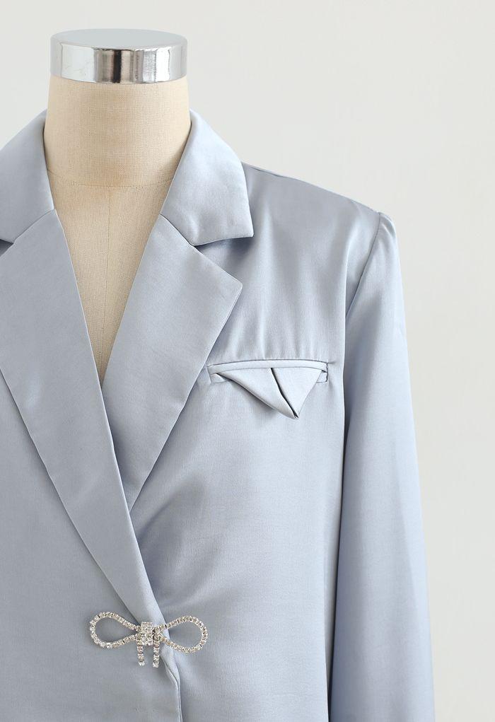 Crystal Brooch Padded Shoulder Satin Shirt in Blue