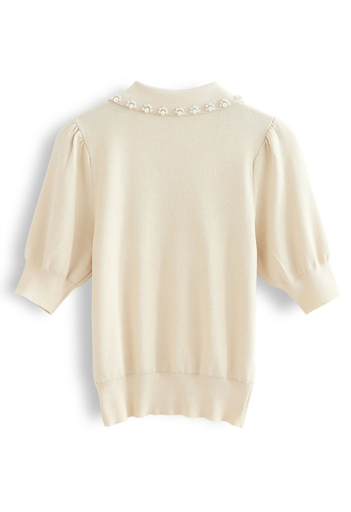 Pearly Collar Puff Sleeves Knit Top in Cream