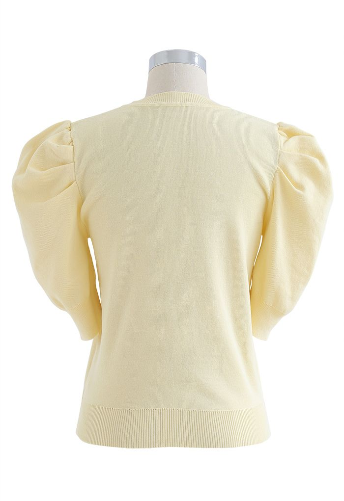 Bubble Short-Sleeve Knit Top in Yellow