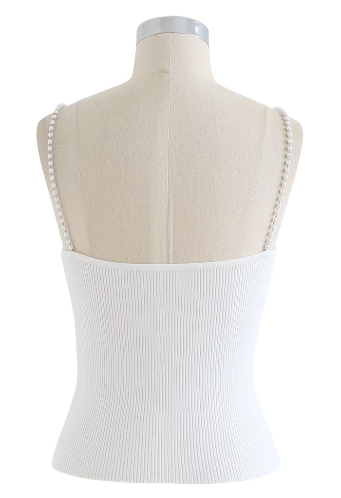 Pearl Straps Knit Cami Tank Top in White