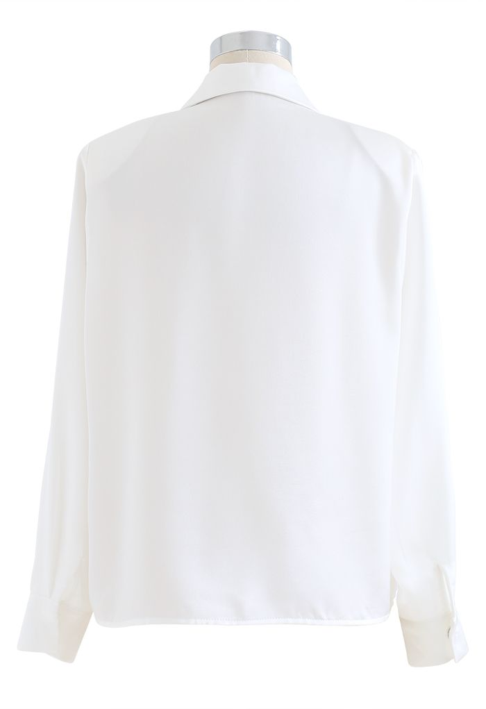 Crystal Brooch Padded Shoulder Satin Shirt in White