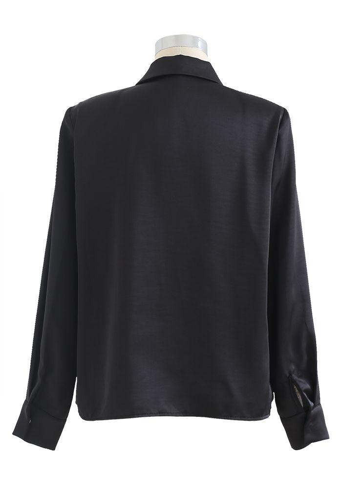 Crystal Brooch Padded Shoulder Satin Shirt in Black