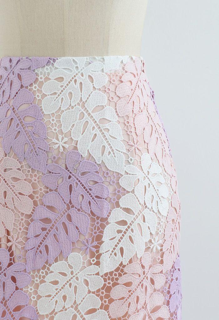 Multi-Color Leaves Crochet Pencil Skirt in Pink