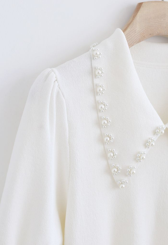 Pearly Collar Puff Sleeves Knit Top in White