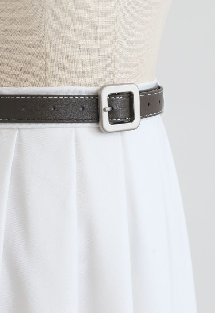 Classic Belted Pleated Midi Skirt in White