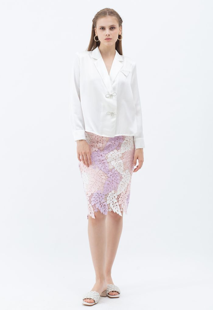 Multi-Color Leaves Crochet Pencil Skirt in Pink