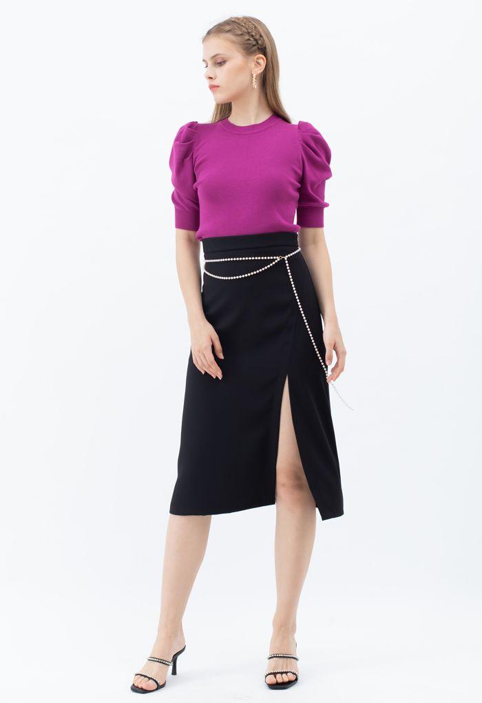 Pearls Chain Front Slit Midi Skirt in Black